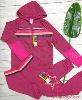 Girls Athletic Works Stars Pink Fleece Sweatshirt Hoodie Jogger Pants L 10 12