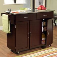 Large Kitchen Cart On Wheels Stainless Steel Top Rolling Island Portable Buffet