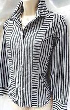 LIZ CLAIBORNE Designer Long Sleeve Blouse Grey & White  Size 10 Petite