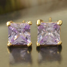 Earings Vintage womens white Gold Plated Light Purple Square small Stud Earrings