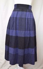 ANN TAYLOR Womens Blue & Black Wool Cashmere Long Pleated Office Skirt Sz 6 VTG