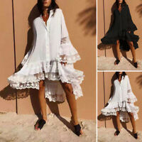 UK Women Flare Sleeve Casual Loose High Low Bohemian Beach Dress Summer Sundress