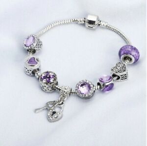 Silver Snake Chain Bracelet with Purple Love Key to My heart European Charms