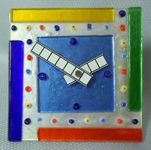 Memphis Sottsass Era Mid Century Modern Fused Art Glass Clock