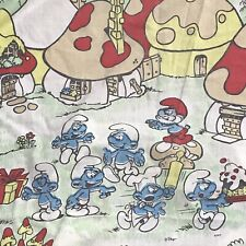 Smurfs Cartoon Vintage 80s Twin Bedding Flat Fitted Sheets Standard Pillowcase