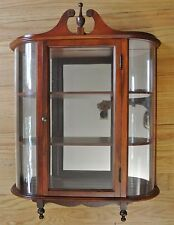 Wall Curio Cabinet Mounted with Bowed Glass Sides & Mirror Back Display Case