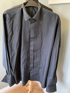 *PISCADOR* black pleated dress shirt, Victorian collar, double cuff, 16.5""