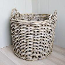 Set 2 Round Log Baskets Large and XLarge Grey Rattan Toy Laundry Storage