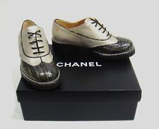 11c6979d2d4f  1000 Chanel G31564 Black   Gold Two Tone Leather CC Logo Oxford Shoes Size  36