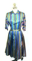 VTG R&K Originals Dress 1950s S Blue/Olive/Taupe Mid-Century Marvelous Maisel