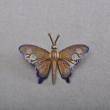 Topazio Portugal Brosche mit Email, Schmetterling, 925er Silber, Filigranschmuck