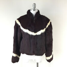 Vintage M L Jacques Saint Laurent Genuine Rabbit Fur Coat Zip Burgundy Chevron
