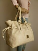 DOONEY & BOURKE LARGE OFF WHITE LEATHER SATCHEL TOTE BAG HANDBAG PURSE