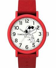 Timex TW2T66000, Peanuts-Snoopy Weekender Watch, Red Nylon Strap, Joe Cool