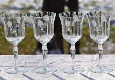 Vintage Etched Tall Wine Glasses, Floral Etched Optic Glass, Set of 6