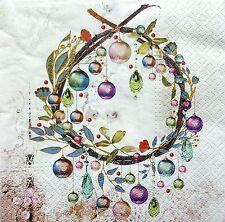 4 Single Lunch Paper Napkins for Decoupage Craft Christmas Wreath  Napkin  / Art