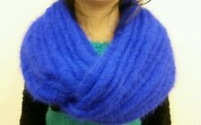 hand-knitted long hair Angora Goats cashmere infinity scarf(royal blue)