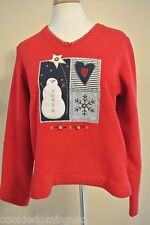 """WHITE STAG CHRISTMAS SNOWMAN FLEECE PULLOVER SWEATER SHIRT SIZE SMALL CHEST 38"""""""