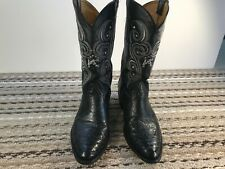 Youncer, Black Leather W/ Ostrich Toe & Heel Caps Mens Size 9.5M