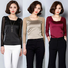 Women Long Sleeve T-shirt Mesh Satin Slim Semi Sheer Blouse Basic Top Sexy Lady