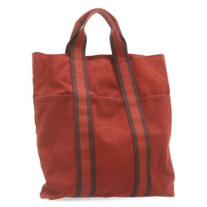 HERMES Fourre Tout Cabas Tote Bag Canvas Red Auth 24520