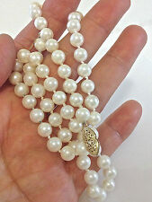 """14k Yellow Gold 6mm Akoya Cultured Pearl Necklace 16 1/2"""" L"""