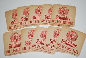 """Lot of 10 Schmidt's Beer-Philadelphia, PA 3 1/2"""" 1970's """" THE E-E-EASY BEER"""""""
