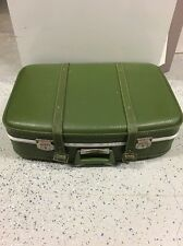 ANTIQUE LEATHER SUIT CASE Green BUCKLE STRAPS Fair Condition Free Shipping!