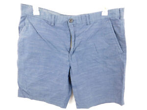 Tommy Hilfiger Mens Sz 38x9.5 Blue White Plaid Cotton Shorts Flat Front Casual
