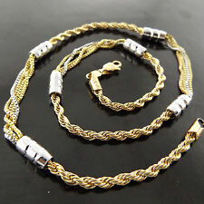 FSA613 GENUINE REAL 18K YELLOW & WHITE G/F GOLD SOLID PENDANT NECKLACE CHAIN