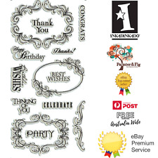 Inkadinkado Clear STAMPS - Expressions and Frames Best Wishes Party Thank You