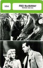 Actor Card. Fiche Cinéma Acteur. Fred MacMurray (U.S.A.) Période 1929-1944