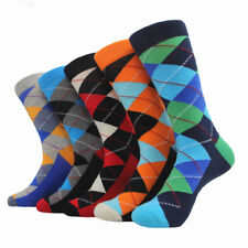 05 Pairs Mens Cotton Socks Lot Colorful ARGYLE Casual Dress Sox For Wedding Gift