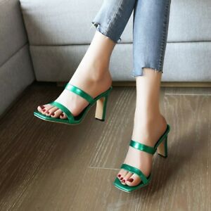Womens Summer Open Toe Shoes High Heel Slides Mules OL Sandals Slipper Plus Size