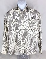 Roper Men's  Pearl Snap Western Shirt Small Cream Brown Paisley Rodeo *see Decsr