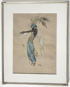 Bild Aquarell Pirs signiert Tänzerin Erotik Schleiertanz Jugendstil 1920er Jahre