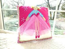 POTTERY BARN KIDS Embroidered Appliqué BALLERINA Pink DOLL Decorative PILLOW 12""