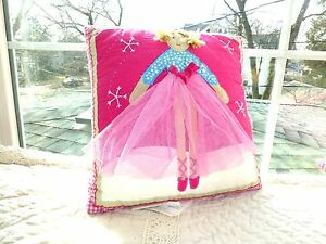 """POTTERY BARN KIDS Embroidered Appliqué BALLERINA Pink DOLL Decorative PILLOW 12"""""""