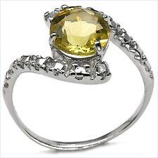 Edler Diamant/Lemon-Quarz/Zitronenquarz-Ring-925 Sterling Silber 2,31 Karat