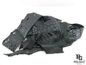 PELGIO Genuine Crocodile Skin Leather Hide Pelt Scraps 100 gram Black Free Ship