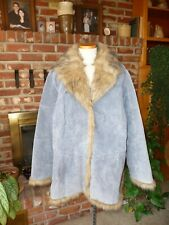 Outbrook Woman Blue Leather Suede Coat Faux Fur 1X