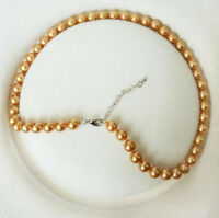 """8mm gold South Sea Shell Pearl Necklace 18"""" AAA+"""