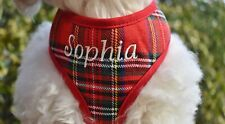 Blank or Custom Embroidered with Name Red Plaid Soft DOG Pet Harness USA MADE
