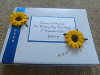 Wedding Guest Book Sunflower Stunning Personalised any colour ribbon!!