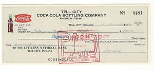 Christmas 1964 Coke Coca Cola Bottling Company Check, Tell City IN Indiana