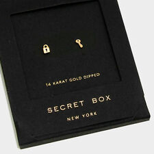 Key Earrings Tiny Secret Gift Box 14K GOLD DIPPED Small Stud Heart Lock Simple