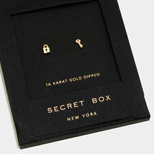 Key Earrings Tiny Secret Gift Box 14K GOLD DIPPED Small Stud Heart Lock Simple