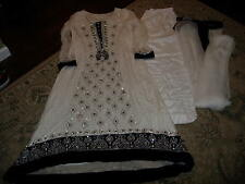 Women's 3 pieces White with Navy Blue stone work Salwar Kameez (Used ) Size: S/M