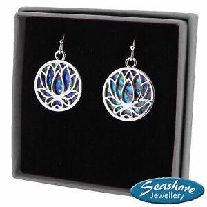 Lotus Flower Earrings Paua Abalone Shell Womens Fashion Jewellery Bhuddist Yoga