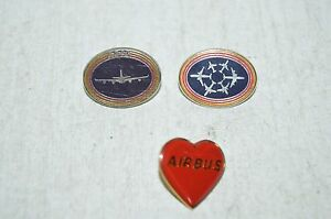 Rare Set Of 3 Pins Airbus Industries + With 340+ Heart 2 IN Zamac Pichard